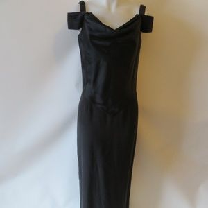 SCARAVELLI BLACK CAPPED SLEEVE SILK DRESS GOWN 10*